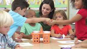 Group Of Elementary Age Children In Art Class stock footage