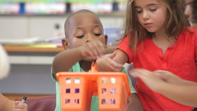 Group Of Elementary Age Children In Art Class stock video footage