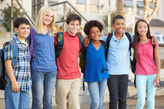 Group of Elementary Pupils Outside Classroom Stock Images