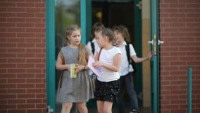 Group of elementary school kids running at school. They are having a lot of fun. They are talking to each other. stock footage