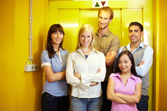 Group at elevator Stock Images