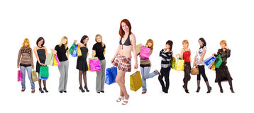 Group of Eleven shopping girls Royalty Free Stock Images