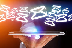 Group of email icon displayed on a futuristic interface - Commun. View of a Group of email icon displayed on a futuristic interface - Communication concept Stock Images