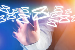 Group of email icon displayed on a futuristic interface - Commun. View of a Group of email icon displayed on a futuristic interface - Communication concept Stock Image