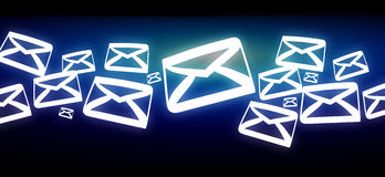 Group of email icon displayed on a futuristic interface - Commun. View of a Group of email icon displayed on a futuristic interface - Communication concept Stock Photos