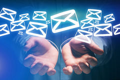 Group of email icon displayed on a futuristic interface - Commun Royalty Free Stock Photos