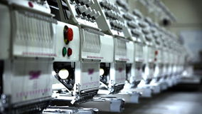 Group of Embroidery Machines stock footage