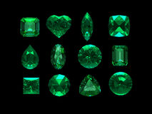 Group of emerald shape with clipping path Royalty Free Stock Photos