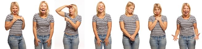 Group of emotional portraits of a young woman, white background royalty free stock photography