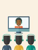 Group of employees with black guy in online Stock Photography