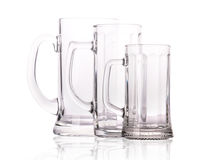 Group of Empty beer glass  on white Royalty Free Stock Photography