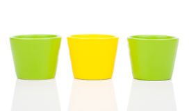 Group of empty ceramic flower pots. On white background royalty free stock photos