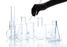 Group of empty chemical laboratory flacks Royalty Free Stock Photos