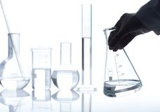 Group of empty classic laboratory flasks Royalty Free Stock Photo