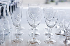 Group of empty crystal clear glasses Stock Photos