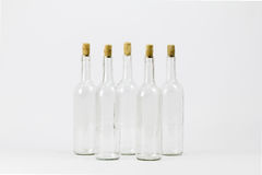 Group of empty glass bottle with cork Stock Photos