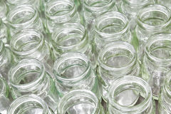 Group of empty glass jar. In factory Royalty Free Stock Photography