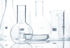 Group of empty laboratory flacks, closeup Stock Photography