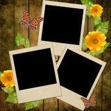 Group of empty polaroids on grunge background Stock Photos