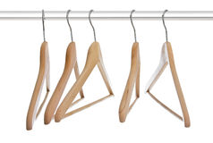 Group of empty wooden hangers Stock Image