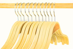 Group of empty wooden hangers Stock Photo
