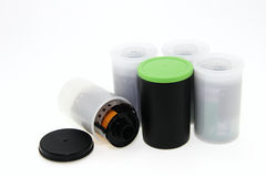 Group of enclosures with films. On white background stock photo