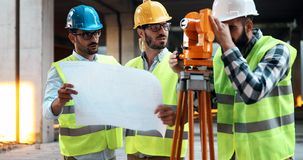 Group of engineering team had meeting at working site. Group of engineering team had meeting at the working site stock image