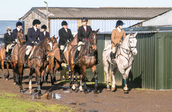 A group of english riders ready for drag hunting Stock Photography