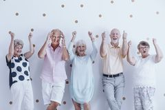Group of enthusiastic seniors stock image