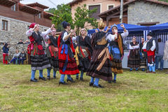 Group Entremonta�as Virgen de la Cuesta in the traditional Dance at Santo Stock Photography