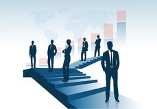 Group of entrepreneurs costs on the ladder going up representing the concept of success. On the image presented Group of entrepreneurs costs on the ladder going Stock Image