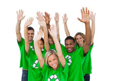 Group of environmental activists raising arms Stock Photo