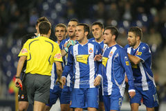 Group of Espanyol players speak with referee Stock Photo