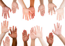 Group of Ethnic Ethnicity Hands raised on white background Stock Photography