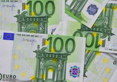 Euro banknotes 100 EUR. Group of 100 Euro bills banknotes money. European Union Currency Stock Image