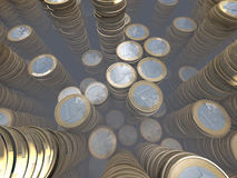 Group of euro coin piles, money hoard, wide-angle Royalty Free Stock Photography