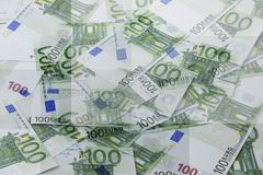 Group of 100 euro notes. Abstract background. Group of 100 euro banknote money finance cash as background Royalty Free Stock Image
