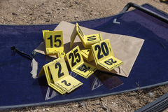 Group of evidence marker in crime scene investigation royalty free stock images