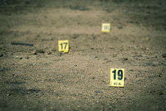 Group of evidence marker in crime scene investigation. Group of evidence marker number in crime scene investigation in cinematic tone stock photos