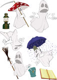 Group evil spirits. The complete set of spirits in white shrouds Royalty Free Stock Photography