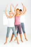 Group of exercising women Stock Images