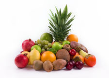 Group of exotic fruits on a white background Stock Photography