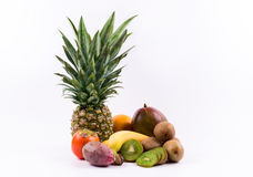 Group of exotic fruits on a white background Royalty Free Stock Photography