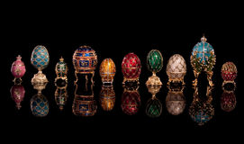 Group Faberge eggs. Stock Photos