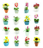Group of fake flowers in the vase Stock Photo
