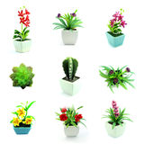 Group of fake flowers in the vase Stock Images