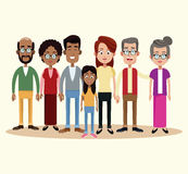 group family different multicultural stock illustration