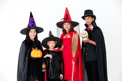 Group of family in fancy costume multiple style on white backgro stock photos