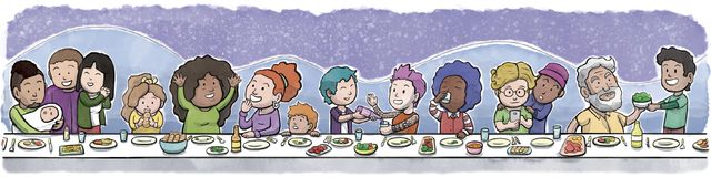 Group of Family and Friends Eating at a large Dining Table Night Background. Digital watercolor illustration of a diverse group of family and friends eating and Stock Image