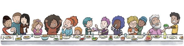 Group of Family and Friends Eating at a large Dining Table White Background. Digital watercolor illustration of a diverse group of family and friends eating and vector illustration